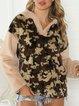 Khaki Plain Long Sleeve Casual Paneled Sweatshirt
