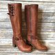 Womens Daily Low Heel Zipper Winter Leather Boots