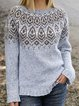 Vintage Sweater Plus Size Crew Neck Knit Tops