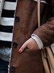 Coffee Paneled Long Sleeve Plain Outerwear