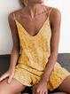 V Neck  Shift Daytime Floral-Print Polka Dots Summer Mini Dresses