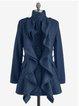 Solid Wool Blend Vintage Long Sleeve Outerwear