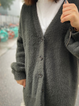 Gray Solid Long Sleeve Outerwear