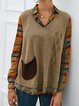 Khaki Knitted Vintage Pockets Sweaters