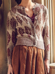 Khaki Long Sleeve V Neck Shirts & Tops