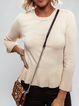 Beige Wool Blend Casual Sweater
