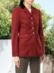 Red Cotton-Blend Casual Outerwear
