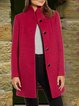 Red Stand Collar Long Sleeve Outerwear