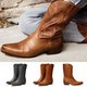 Slip-On Mid-Calf Western Boots Simply Style Work Boots
