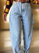 Blue Casual Plain Pants