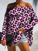 Leopard Print Vintage Off Shoulder Printed Shirts & Tops