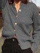 V Neck Shift Long Sleeve Plain Sweater