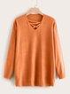 Paneled Plain Cotton-Blend Long Sleeve Sweaters
