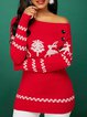 Christmas Graphic Turtleneck Printed Long Sleeve Boat Neck Sweater