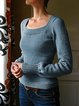 Long Sleeve Knitted Square Neck Sweater