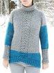 Plus Size Sweater Vintage Turtle Neck Jumper