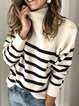 Casual Striped Stand Colar Buttoned Long Sleeve Sweater