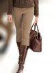Khaki Vintage Casual Cotton Pants