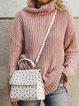 Casual Plus Size Turtleneck Long Sleeve Sweater