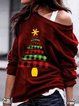 Christmas Printd Long Sleeve One Shoulder Shirt