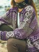 Long Sleeve Color-Block Geometric Knitted Outerwear