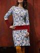 Casual Long Sleeve Printed Dresses