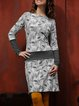 Casual Long Sleeve Printed Dresses