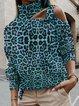 Casual  Leopard-Print Turtleneck Long Sleeve Sweatshirt