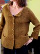 Pockets Solid Knit Cardigan Plus Size Sweater