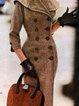 Shawl Collar Brown Women Dresses Vintage Paneled Dresses