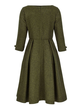 Crew Neck Army Green Women Dresses Daily Paneled Plain Dresses