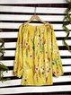 Yellow Chiffon Boho V Neck Shirts & Tops