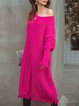 Women Plain Sweet Cotton Crew Neck Dresses