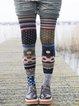 Multicolor Plus Size Women Vintage Patchwork Printed Casual Pants