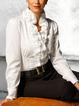 White V Neck Long Sleeve Ruffled Shirts & Tops
