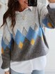 Plus Size Long Sleeve Statement Printed Casual Sweater