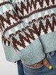 Plus Size Cyan Cotton-Blend Vintage Sweater
