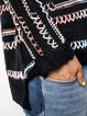 Black Cotton-Blend Knitted Casual Sweater
