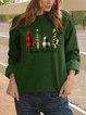 Christmas Casual Crew Neck Shift Shirts & Tops
