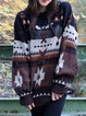 Crew Neck Cotton Geometric Vintage Sweater