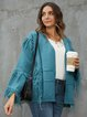 Blue Long Sleeve Acrylic Solid V Neck Outerwear