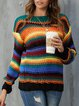 Orange Casual Long Sleeve Sweater