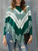 Green Cape Sleeve Casual Sweater