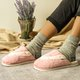 Fur Flat Heel Slippers Slip-On Winter Closed Toe Warm Slippers