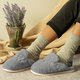Flat Heel Winter Slippers Closed Toe Slip On Home Alphabet Fur Slippers