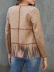 Khaki Long Sleeve Zipper Outerwear