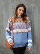 Blue Crew Neck Cotton Casual Paneled Sweater