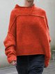 Solid Jumper Plus Size Stand Collar Sweater