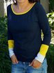 Blue Cotton-Blend Color-Block Round Neck Casual Shirts & Tops