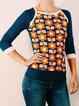 Casual Long Sleeve Floral-Print Sweatshirt